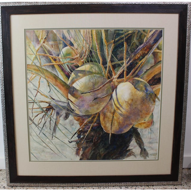 """Vintage Barbara Shipman Watercolor Painting """"Lots of Coconuts"""" For Sale - Image 10 of 13"""