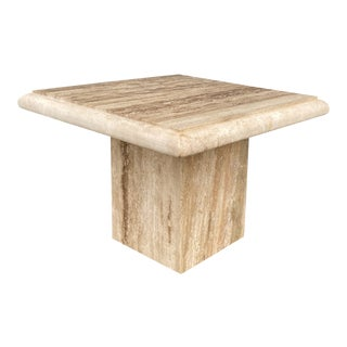 Mid 20th Century Italian Style Square Travertine Coffee Table For Sale