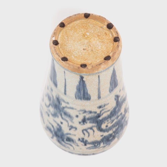 Chinese Crackled Blue and White Vase For Sale In Chicago - Image 6 of 7