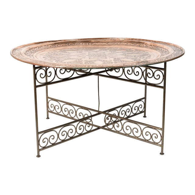 20th Century Moroccan Round Copper Tray Table on Iron Base For Sale