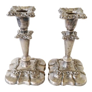 Sheffield Silver Plate Candlesticks- A Pair For Sale