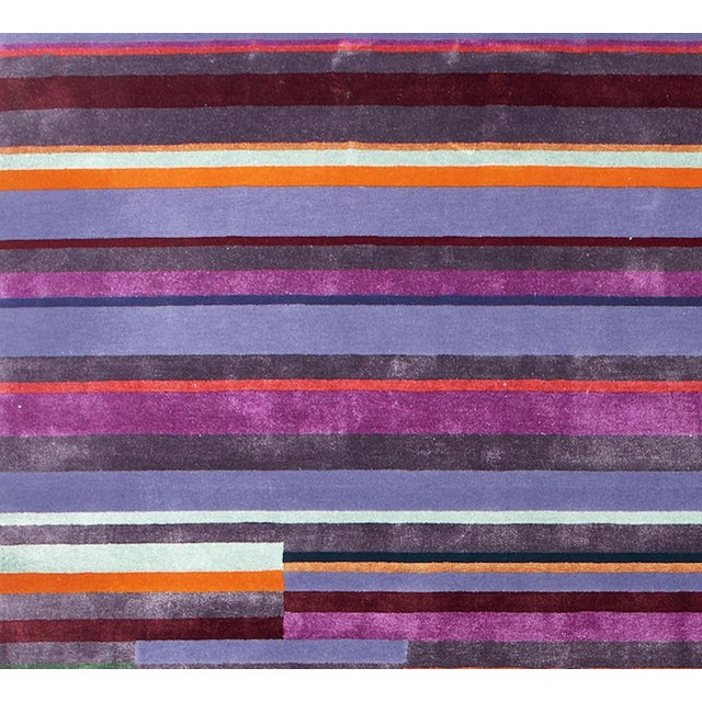 Contemporary Schumacher Patterson Flynn Martin Paul Hand Tufted Wool Nylon Striped Rug For Sale - Image 3 of 5