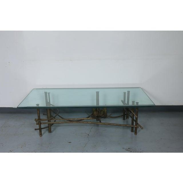Hollywood Regency Brutalist Lotus Coffee Table For Sale - Image 3 of 10