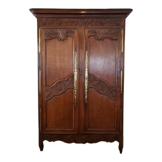 French Provencal Carved Walnut Armoire For Sale