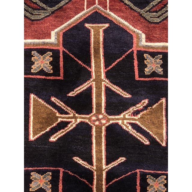 "Art Deco 1950s Art Deco Persian Meshkin Wool Runner - 3'8""x11'7"" For Sale - Image 3 of 13"