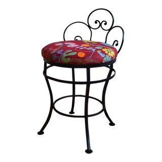 1950s Mid-Century Modern Josef Frank Fabric Upholstered Wrought Iron Chair For Sale