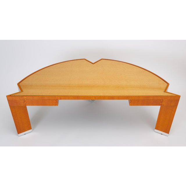 """Custom Lacewood """"Mezzaluna"""" Desk by Pace Collection For Sale In Los Angeles - Image 6 of 13"""