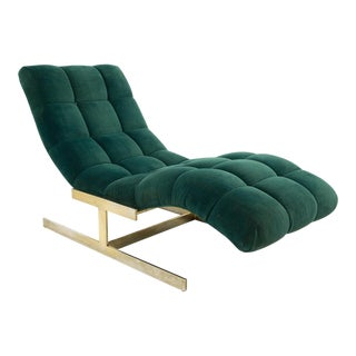 Vintage Mid Century Milo Baughman Brass Base Tufted Chaise Lounge Chair For Sale
