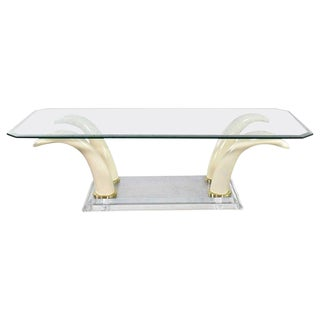 Lucite Acrylic & Glass Faux Tusk Coffee Cocktail Table After Maison Jansen or Italo Valenti For Sale