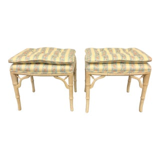 Regency Style Faux Bamboo Benches - a Pair For Sale