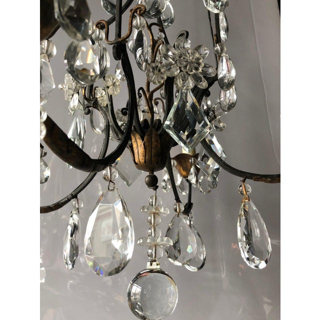 Vintage French Black Iron and Crystal Chandelier For Sale - Image 4 of 13