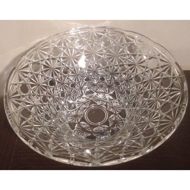 Glass Vintage Cut Lead Crystal Bowl For Sale - Image 7 of 11