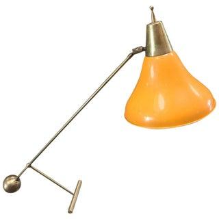 Italy, 1960s Stilnovo Modernist Brass Table / Desk Light For Sale