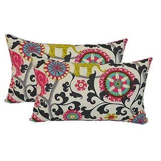Bohemian Black Pink Elephant Lumbar Pillows - Pair