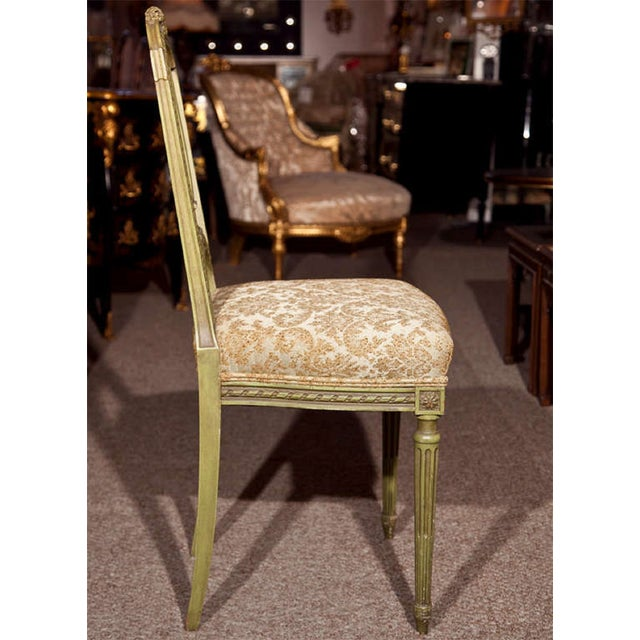 French Green Painted Side Chairs - Pair - Image 7 of 7