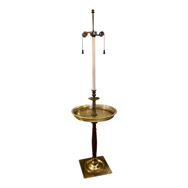 1950s Stiffel Regency Brass Tray Table Floor Lamp For Sale