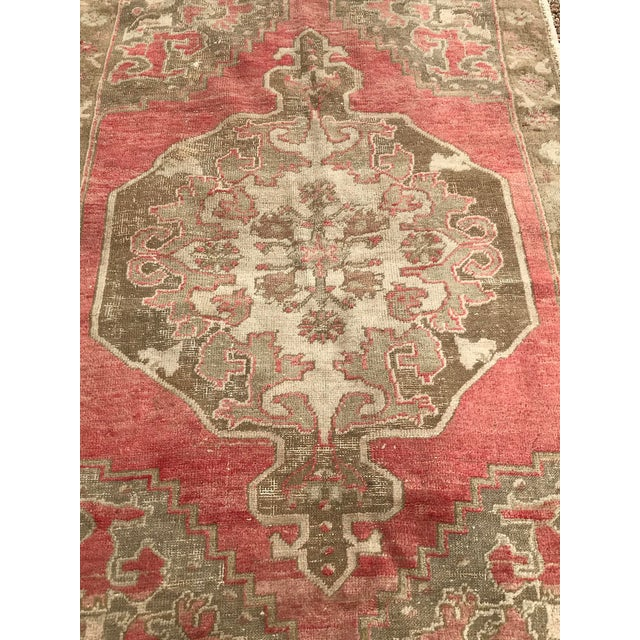 """Shabby Chic Hand Made Vintage Turkish Distressed Area Rug- 3'10""""x5'10"""" For Sale - Image 3 of 7"""