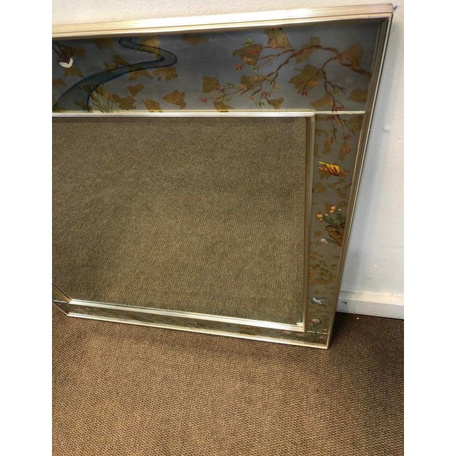 Chinoiserie Labarge Chinoiserie Wall Reverse Painted Mirror For Sale - Image 3 of 7