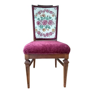 Early 20th Century Mahogany Accent Chair Restyled with Tapestry Back and Tassels For Sale