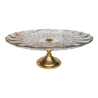 Val Saint-Lambert Imperial Pattern Gold Footed Cake Stand For Sale