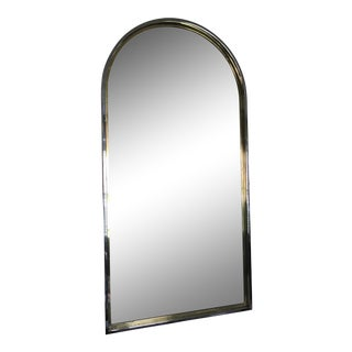 1980s Arched Mirror With Chrome and Brass Trim For Sale