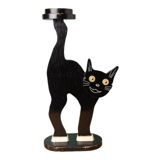 Folk Art Black Cat Drink Table For Sale