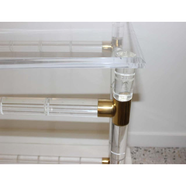 Lucite and Brass Console Table by Charles Hollis Jones For Sale In West Palm - Image 6 of 13