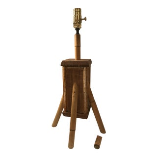 Vintage Bamboo Table Lamp & Finial For Sale