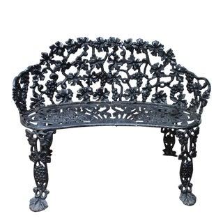 Antique Victorian Cast Iron Grape Vine Garden Bench For Sale