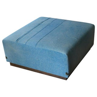 Ottoman Coffee Table Upholstered in 1960s Blue Tent Canvas Atop Barn Wood Base For Sale