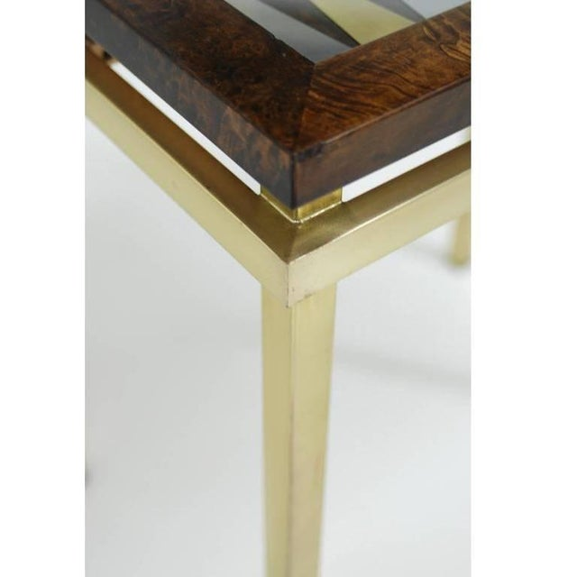 Late 20th Century Burl Wood and Brass Backgammon Game Table For Sale - Image 5 of 9
