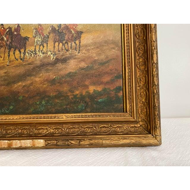 Blue Antique Framed Hunt Scene Painting For Sale - Image 8 of 13