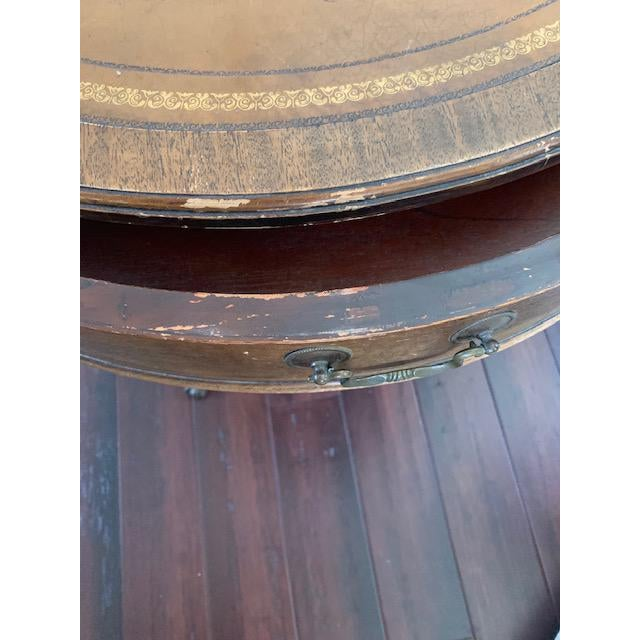 Duncan Phyfe Revival Style Paw Foot Drum Table For Sale - Image 10 of 12