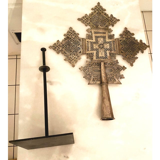 Mid 20th Century Large Ethiopian Coptic Processional Metal Cross on Black Metal Stand For Sale - Image 11 of 13