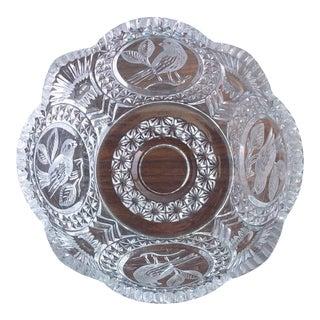 Etched Crystal Bowl by Hofbauer Byrdes For Sale