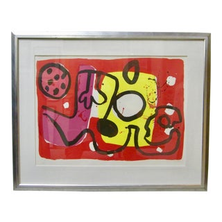 "1960s Vintage Alan Davie ""Zurich Improvisation XIII"" Abstract Expressionist Signed Lithograph Print For Sale"