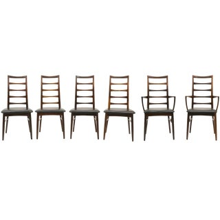 6 Rosewood Lis Dining Chairs by Niels Kofoed, Two With Arms, Four Armless For Sale