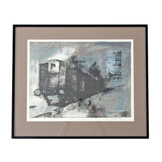 Mid Century Modern Framed Stone Lithograph Signed Dated Renzo Vespigani 1960s For Sale