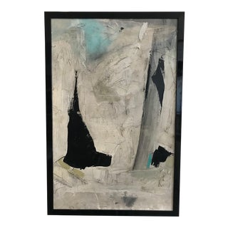 Framed Black and White Abstract Painting by Artist Graham Harmon, 1960s For Sale