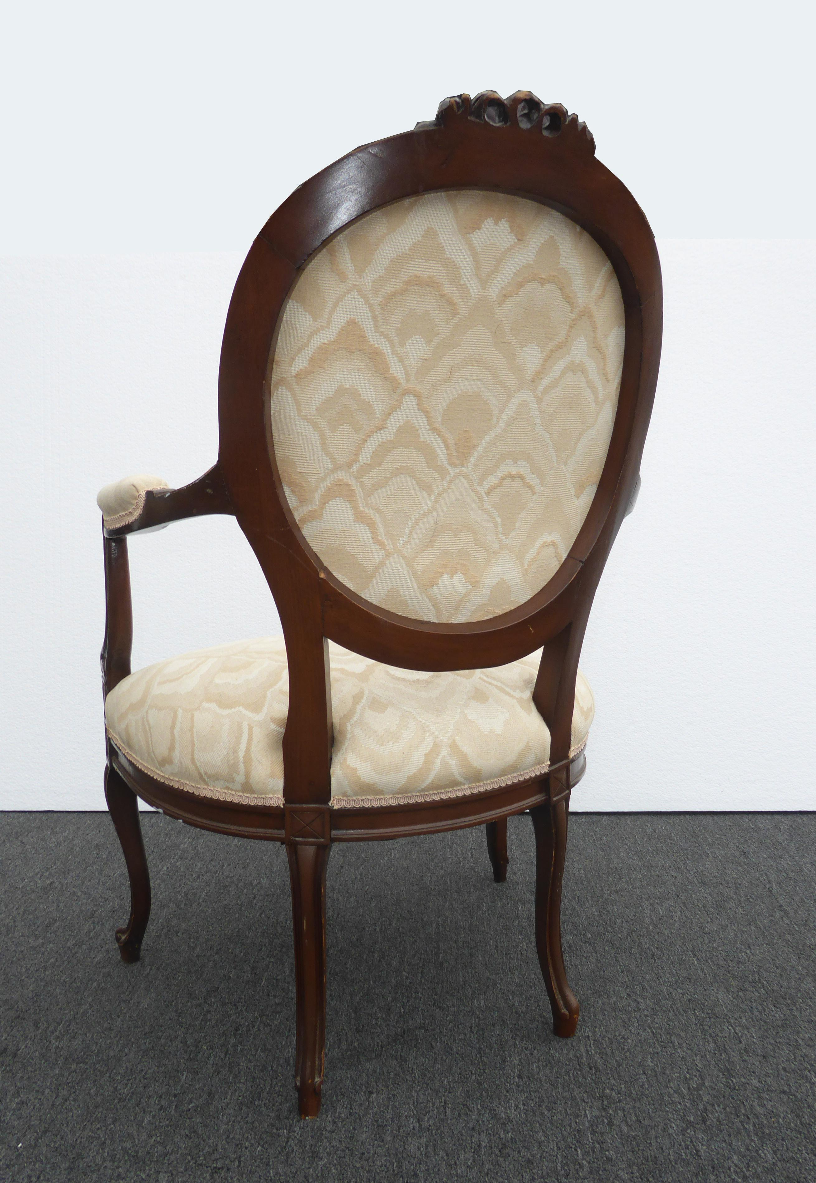 1970s Vintage French Provincial Ornately Carved Off White Accent