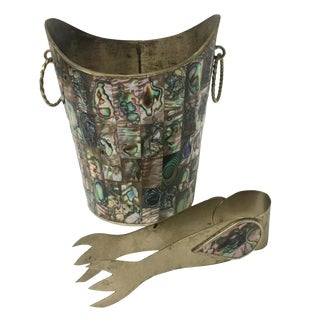Los Castillo Mexican Abalone and Brass Ice Bucket with Tongs