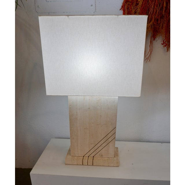Postmodern 1980s Postmodern Travertine Table Lamps - a Pair For Sale - Image 3 of 8