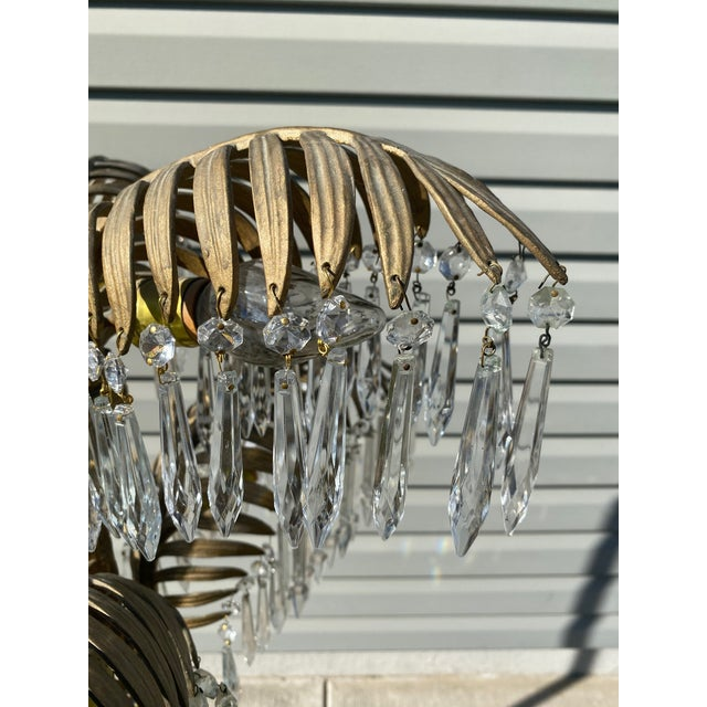 French Early 20th Century French Bronze and Crystal Palm Chandelier For Sale - Image 3 of 8