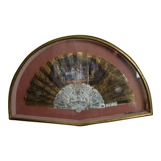 18th Century Antique Framed Hand-Painted Mother-Of-Pearl Fan For Sale