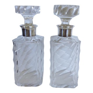 Pair of Liquor Decanters w/ Sterling Collars