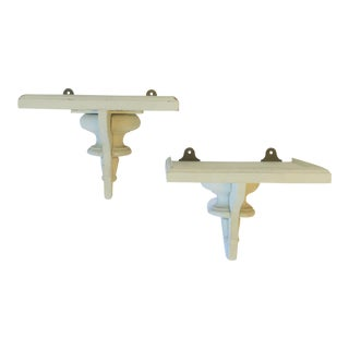 Pair of European White Turned Wood Wall Shelf Brackets For Sale