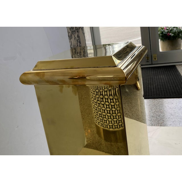 "30"" Polished Brass Pedestal by Crafts For Sale - Image 10 of 13"