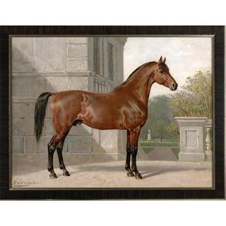 Cleveland Horse by Eerelman Framed in Italian Wood Vener Moulding For Sale
