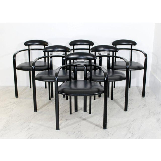 Memphis 1970s Mid-Century Modern Memphis Loewenstein Black Leather Dining Armchairs - Set of 6 For Sale - Image 3 of 10