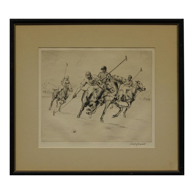 Four Polo Players Etching by Nat Lowell (1880-1956) For Sale